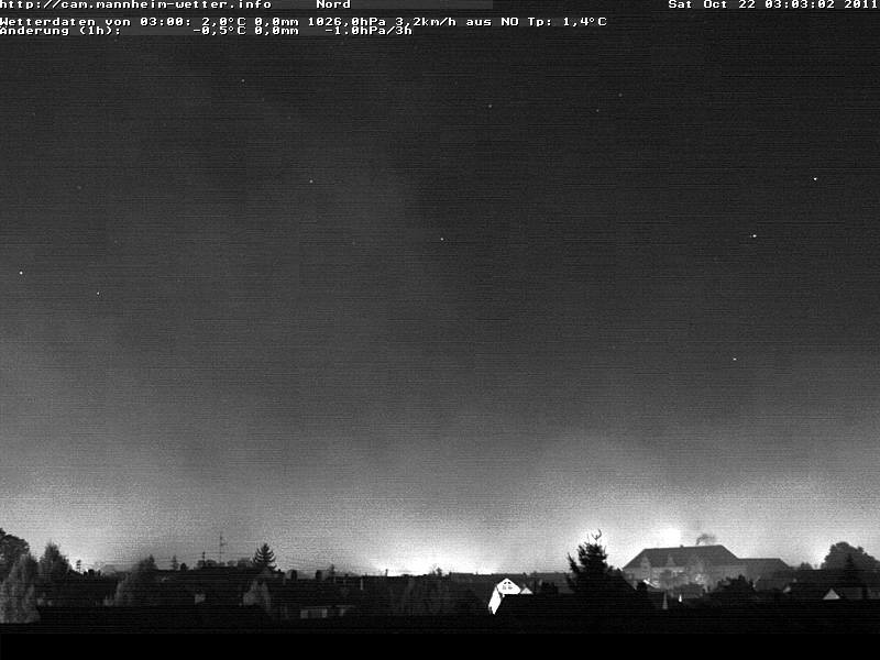 Nacht mit Nebel und Sternen über Mannheim